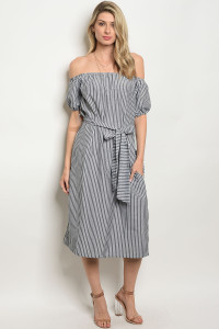 S4-9-2-D1010 BLACK WHITE STRIPES DRESS 2-2-2