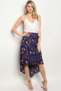 S10-8-3-S378 NAVY FLORAL SKIRT 2-2-2