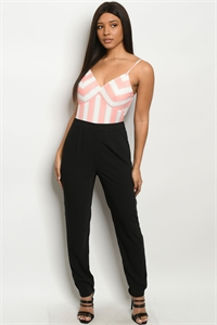 109-4-3-J16327 BLACK SALMON STRIPES JUMPSUIT 2-2-2