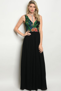 116-3-5-D15888 BLACK GREEN DRESS 2-2-2