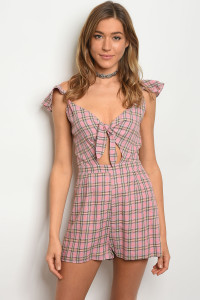 133-2-3-R5490 MAUVE BROWN CHECKERED ROMPER 3-2-1