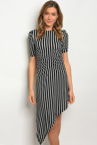 S12-9-2-D5493 BLACK WHITE STRIPES DRESS 3-2-1