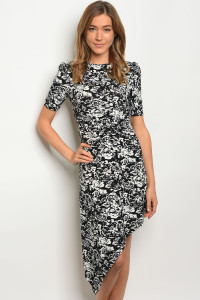133-1-2-D5493 BLACK WHITE WITH FLOWER DRESS 3-2-1