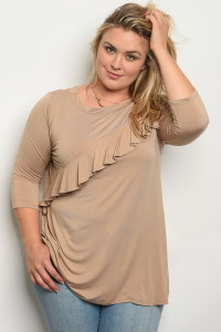 C75-B-6-T549X KHAKI PLUS SIZE TOP 2-2-2