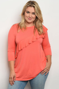C73-B-1-T549X APRICOT PLUS SIZE TOP 2-2-2