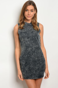 124-1-2-D2020 BLACK DENIM WASH DRESS 2-2-2