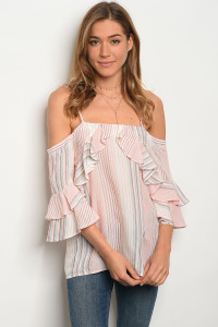 131-1-5-T5014 IVORY PINK STRIPES TOP 2-2-2