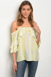 123-2-4-T5014 IVORY YELLOW STRIPES TOP 3-2-2
