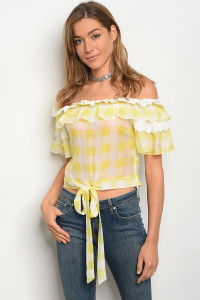 S11-7-3-T27059 YELLOW WHITE CHECKERED TOP 2-2-2
