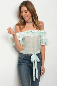 S12-1-5-T27059 MINT WHITE CHECKERED TOP 2-2-2