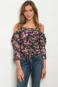 135-1-2-T21074 NAVY FLORAL TOP 3-2-2