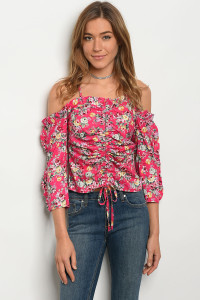 S11-11-2-T21074 FUCHSIA FLORAL TOP 2-2-2