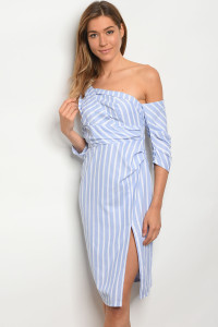 135-1-2-D91584 WHITE BLUE STRIPES DRESS / 3PCS