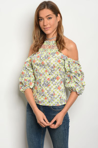 132-2-3-T27118 OFF WHITE GREEN FLORAL TOP 2-3