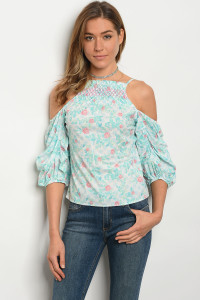135-1-2-T27118 OFF WHITE BLUE FLORAL TOP 3-3-2
