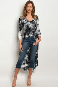 122-1-5-T7020 BLACK TIE DYE TOP 2-2-2