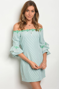 127-2-5-D91553 WHITE GREEN STRIPES DRESS 2-1-1