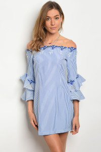 115-1-2-D91553 WHITE BLUE STRIPES DRESS 2-2-2