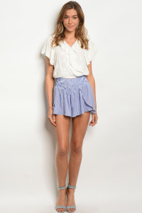 S8-6-5-S12655 ROYAL WHITE STRIPES SHORTS 3-2-1