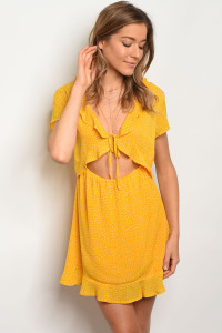 S12-4-3-D7303 YELLOW WITH DOTS DRESS 3-2-1