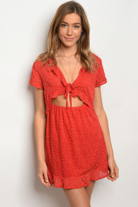 124-1-5-D7303 RED WITH DOTS DRESS 2-2-1