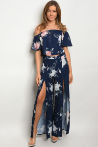S12-6-4-SET7275 NAVY FLORAL TOP & PANTS SET 3-2-1