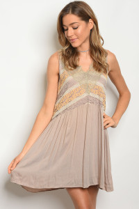 S9-2-2-D5232 TAUPE IVORY DRESS 3-2-2