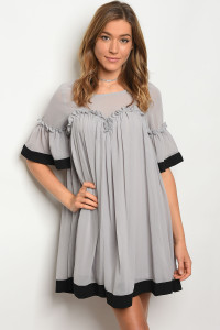 S13-2-1-D5393 GREY BLACK DRESS 2-2-2