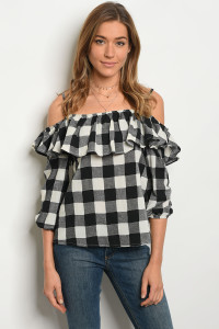 S10-3-5-T3383 BLACK IVORY CHECKERS TOP 2-2-2