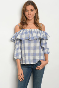 134-1-3-T3383 BLUE IVORY CHECKERS TOP 2-1-1
