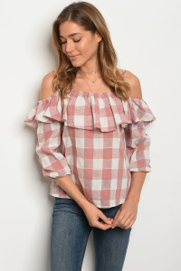 S10-3-5-T3383 BLUSH IVORY CHECKERS TOP 2-2-2