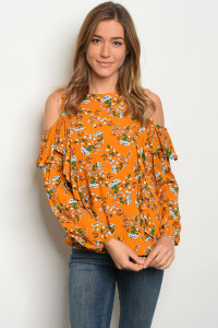 S4-3-5-T3269 MUSTARD FLORAL TOP 2-2-2