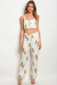 127-3-1-NA-P4026 IVORY WITH PINEAPPLES PANTS 1-3-2-1