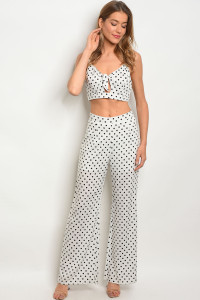 S12-10-1-NA-SET3494 WHITE WITH POLKA DOTS TOP & PANTS SET 1-2-2-1