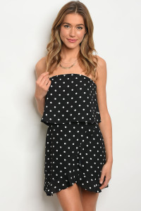 127-3-1-NA-D4990 BLACK WITH POLKA DOTS DRESS 3-2