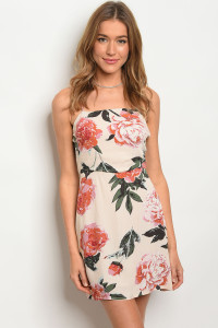C5-A-3-NA-D70331 PEACH WITH FLOWERS DRESS 2-2-2