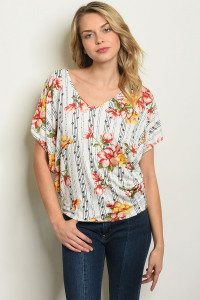 C17-B-2-T919458B WHITE FLORAL TOP 2-2-2