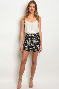 C46-B-3-S8711 NAVY FLORAL SHORTS 2-2-2