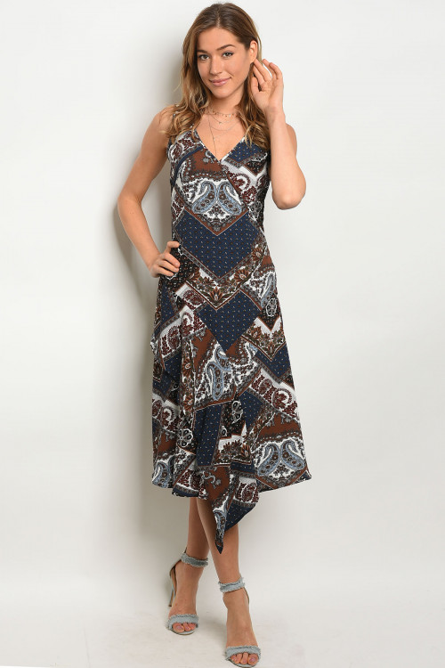 S12-11-3-D1139 NAVY BROWN PAISLEY DRESS 3-2-1