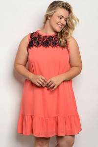 122-3-3-D5774X CORAL PLUS SIZE DRESS 2-2-2