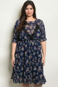 128-1-2-D5477X NAVY FLORAL PLUS SIZE DRESS 1-3-3