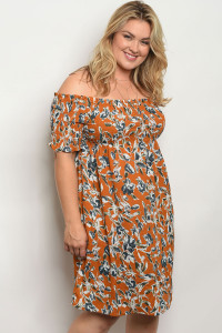 128-1-2-D5730X CAMEL FLORAL PLUS SIZE DRESS 3-2-2