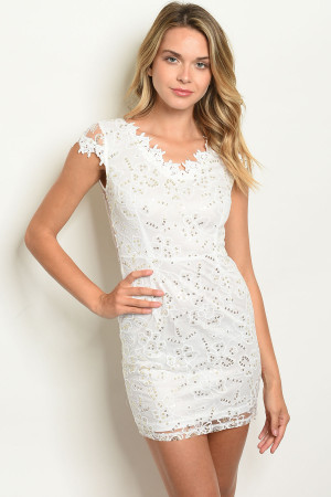108-2-3-D09059 WHITE WITH SEQUINS DRESS 2-2-2