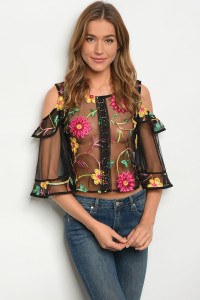 108-2-3-T09158 BLACK EMBROIDERY TOP 2-2-2
