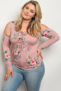C77-B-2-T1501X MAUVE STRIPES FLORAL PLUS SIZE TOP 2-2-2