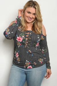 C77-B-3-T1501X BLACK STRIPES FLORAL PLUS SIZE TOP 2-2-2