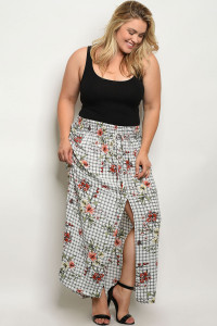 C73-A-1-S1533X WHITE CHECKERED FLORAL PLUS SIZE SKIRT 2-2-2