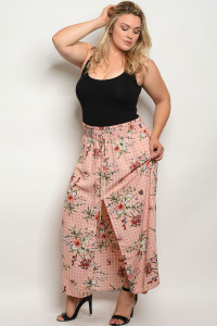 C89-A-1-S1533X BLUSH CHECKERED FLORAL PLUS SIZE SKIRT 3-2