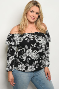C79-B-2-T1504X BLACK FLORAL PLUS SIZE TOP 2-2-2