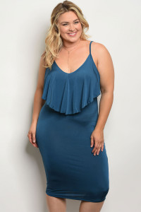 C90-A-4-D1314X TEAL PLUS SIZE DRESS 2-2-2